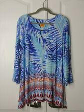 Ruby Rd Womens Size 1X Multicolor 3/4 Sleeve Blue Shirt Top Blouse Palm Leaves