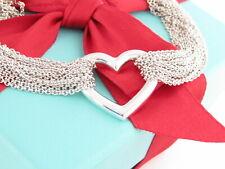 "Auth Tiffany & Co Silver Multi Chain Heart Mesh Bracelet 7.125"""
