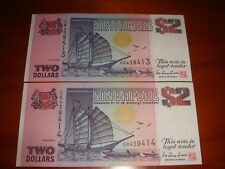 Singapore $2 Ship Series, 2 pieces Running Numbers, EF condition
