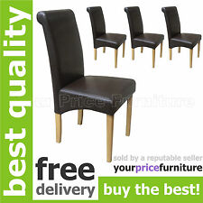4 Brown Faux Leather Scroll Roll Top Oak Leg Dining Chairs Free 48 Hour Delivery
