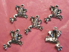 Tibetan Silver Frog Charm pack of 5