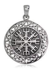 925 solid Sterling Silver Aegishjalmur Helm of Awe Norse Viking Celtic pendant