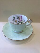 Vintage Aynsley Tea Cup and Saucer Pastel Mint Green RARE