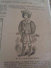 """PATRON ORIGINAL POUR LA POUPEE BLEUETTE """"VAREUSE ET BERET BASQUE JUIN 1908"""