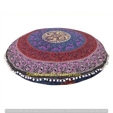 Hippie Handmade Pillow Cover Throw Cushion Mandala Cotton Round Indian Decor