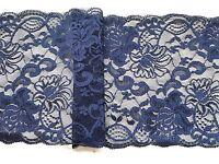 """Laces Galore ~Navy Blue Wide Floral Lace 6.5""""/16.5cm Craft Sew Trim"""