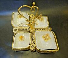 Sectional Serving Tray w/ 4 Snack Dish Dip Bowls - Filigree Dessert Platter Gold