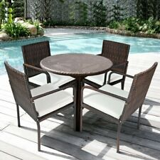 New listing 4 Pcs Outdoor Patio Rattan Dining Chairs Cushioned Sofa with Armrest Garden Deck