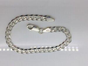 "Genuine 925 Sterling Silver Lady 4mm Curb diamond Cut Bracelet  7.5"""