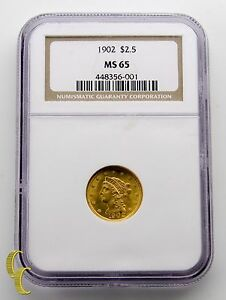 1902 Gold $2.50 Quarter Eagle Liberty Head Coin Graded by NGC MS-65
