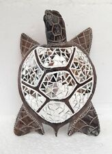 More details for unusual hand made mirror turtle ornament table top or wall hung bali turtle 32cm