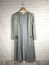 Lularoe Elegant Collection Sarah Duster Cardigan Gray With Gold Hearts Small S
