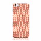 WHITE WAVE PATTERN PALE ORANGE PRINT CASE COVER FOR APPLE IPHONE MOBILE PHONES