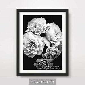 BLACK WHITE FLOWERS Art Print Poster A4 A3 A2 Photography Interior Design Decor