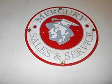 "Vintage Collectible 12"" Metal PorcelaIn MERCURY SALES & SERVICE ADVERTISING Sign"