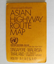Asian Highway Route Map vintage 1980s Singapore Malaysia Thailand Laos A1 A2 A12