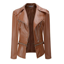 Stylish Vintage Women Slim Motorcycle Soft Leather Zipper Punk Jacket Short Coat