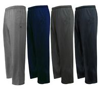 Men's Open Bottom Cotton Elastic Waist Fleece Sweatpants 2 Pockets Gym Run Walk