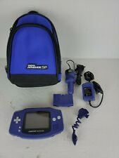 Nintendo Game Boy Advance Purple Console With Power Adapters and Light. TESTED