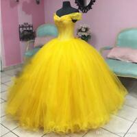 Yellow Quinceanera Prom dresses Ball Gown Real Photo off the shoulder custom