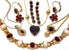 6pc~LOT~VINTAGE~DARK RED~RHINESTONE~FAUX PEARL~GOLD~EARRINGS~NECKLACES~BRACELET