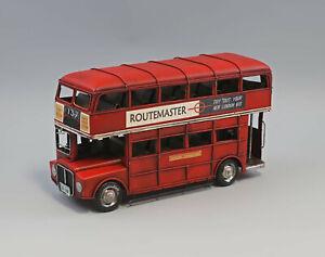 9977510 Nostálgico Coches Modelos Antiguo Doppelstock-Bus 33x11x18cm