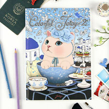Coloring Book -Colorful JETOY #2- Cute Kitty Coloring Book - Partially Colored