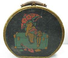 1930's Child's Dolls Suitcase Train Case Round Leather Girl Parasol Trunk RARE