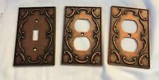 Lot of 3 - 2003 Lhmc Copper Finish Decorative Ornate Outlet Covers Bronze