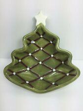 Pottery Barn Ceramic Seasons Greetings Figural Christmas Tree Bowl Dish