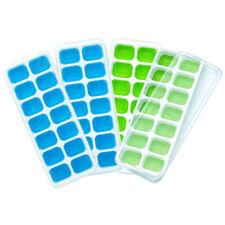 4er Set Eiswürfelbehälter mit Deckel Eiswürfelform Eiswürfelbereiter Silikon Neu
