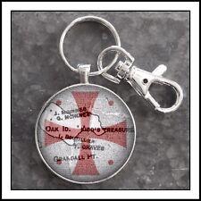 Templar Cross  with inlaid map of Oak Island Nova Scotia  photo keychain
