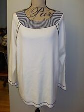 Chico's Zenergy Cotton Blend Stripe Detail Active Wear Sweater Tunic NWT Ecru 3