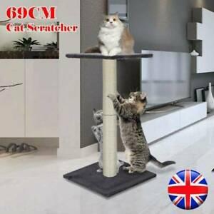 NEW Cat Scratching Post Play 69cm Grey Woven Sisal Post Tall Climbing Tree UK