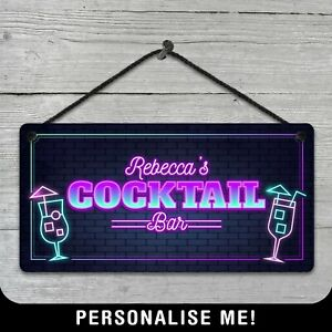 Personalised Hanging Cocktail Bar Sign Neon Style Metal Plaque Pub 80s Retro VIP