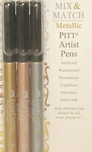 Faber Castell Metallic Pitt Artist Pens Gold Copper Silver Archival Ink 770090