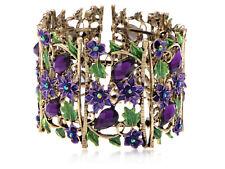 African Violet Flower Fields Garden Amethyst Crystal Rhinestone Bracelet Cuff