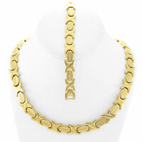 NEW Hugs & Kisses Necklace Bracelet Set Stampato Stainless Steel Gold Plated 18""