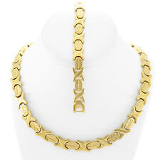 """NEW Hugs & Kisses Necklace Bracelet Set Stampato Stainless Steel Gold Plated 18"""""""