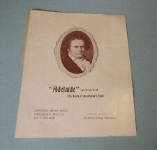 1898 Adelaide The Story of Beethoven's Love Operatic Play Program David Bispham