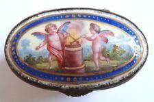 Petite boite à bijoux en émail de BATTERSEA 18e siècle 18th century box Ange