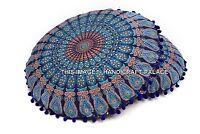 Indien Grand Sol Coussin Rond Ottomane Taie 81.3cm Mandala Housse Bleu Pompon