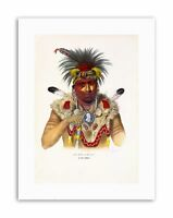 DRAW NATIVE AMERICAN CHIEF FOX FEATHER FUR INDIAN Canvas art Prints
