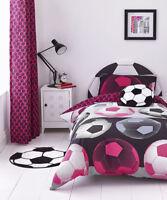 Catherine Lansfield Neon Football Cotton Rich Double Duvet Set Pink