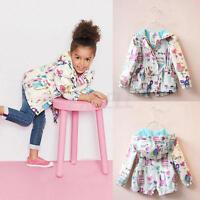 Baby Girls Cartoon Graffiti Hooded Coat Outerwear Toddler Kids Jackets Clothes