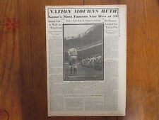 "Aug 25, 1948  BABE RUTH  ""NATION MOURNS RUTH""  The Sporting News  Special Insert"