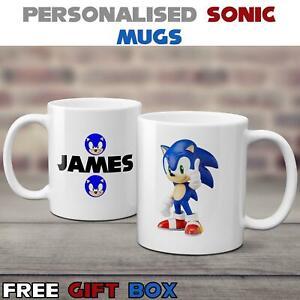 Personalised Custom Print Name Sonic The Hedgehog Mug Birthday Adults Kids Gift