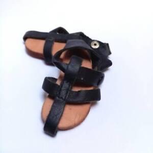 """Vintage black doll sandels, Leather Sandal shoes, doll shoes, 2.36"""" - size 6"""