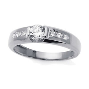 Men 14K White Gold Round CZ Flat Top Wedding Band Ring / Free Gift Box