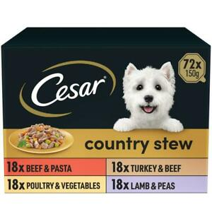 72 x 150g Cesar Country Kitchen Dog Food Trays Special Selection in Gravy